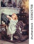 adorable little blonde girl  in ... | Shutterstock . vector #520825708