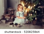 adorable little blonde girl  in ... | Shutterstock . vector #520825864