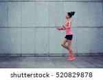 young fitness woman rope...   Shutterstock . vector #520829878