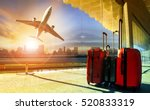 stack of traveling luggage in... | Shutterstock . vector #520833319