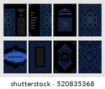 eastern blue cards set. vintage ... | Shutterstock .eps vector #520835368