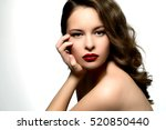 beauty woman with perfect red... | Shutterstock . vector #520850440