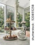 afternoon tea set  tea set with ... | Shutterstock . vector #520855258