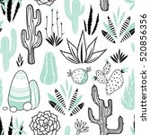 vector floral seamless pattern... | Shutterstock .eps vector #520856356