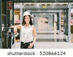 beautiful young asian engineer... | Shutterstock . vector #520866124