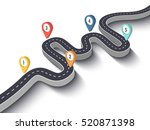 road trip and journey route.... | Shutterstock . vector #520871398
