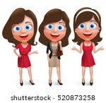 fashion teenage girls vector... | Shutterstock .eps vector #520873258