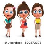 fashion teen girl model vector... | Shutterstock .eps vector #520873378
