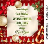holidays greeting and christmas ... | Shutterstock .eps vector #520877314