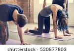 yoga practice exercise class... | Shutterstock . vector #520877803