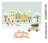 greeting card  christmas and... | Shutterstock .eps vector #520880740