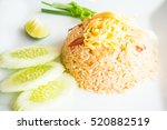 fried rice with shrimp and egg... | Shutterstock . vector #520882519