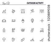 outdoor activity flat icon set. ... | Shutterstock .eps vector #520889038