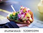 man with healthy vegan street... | Shutterstock . vector #520893394