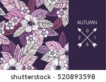 autumn floral design with... | Shutterstock .eps vector #520893598