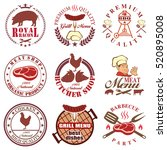 set of butcher shop labels and... | Shutterstock . vector #520895008