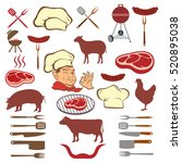 meat and set of tools | Shutterstock . vector #520895038