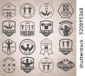 vintage weight lifting label... | Shutterstock . vector #520895368