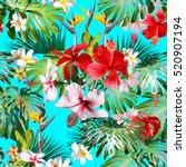 amazing tropical pattern green... | Shutterstock . vector #520907194