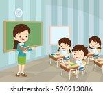 teacher teaching students in... | Shutterstock .eps vector #520913086