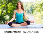 woman doing yoga. | Shutterstock . vector #520914358
