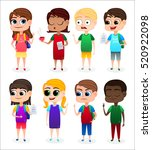 collection of happy children in ... | Shutterstock .eps vector #520922098