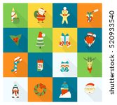 christmas and winter icons... | Shutterstock .eps vector #520933540