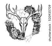stylized deer skull and flowers ... | Shutterstock .eps vector #520935709