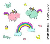 cute set of magical elements ... | Shutterstock .eps vector #520938670