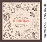 greeting text and sketch... | Shutterstock .eps vector #520943920