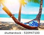 beautiful maldive beach and... | Shutterstock . vector #520947100