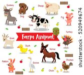 Farm Animals Cartoon On White...
