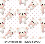 cute bear pattern on dotted... | Shutterstock .eps vector #520951900