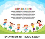 children are jumping on the... | Shutterstock . vector #520953004