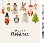christmas design with hanging... | Shutterstock .eps vector #520953019