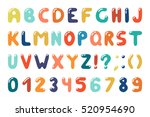 colorful alphabet in retro... | Shutterstock .eps vector #520954690