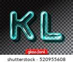 super realistic glass alphabet... | Shutterstock .eps vector #520955608