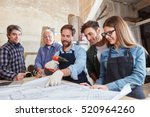 craftsman team cooperating on... | Shutterstock . vector #520964260