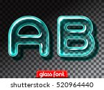 super realistic glass alphabet... | Shutterstock .eps vector #520964440