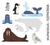vector flat style set of arctic ... | Shutterstock .eps vector #520965868