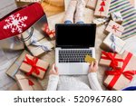 christmas online shopping top... | Shutterstock . vector #520967680