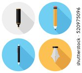 pencil and pen icons . flat... | Shutterstock .eps vector #520975096