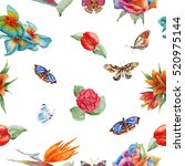 tropical fashion seamless print ... | Shutterstock . vector #520975144