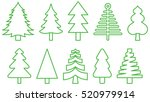 set of christmas trees green... | Shutterstock .eps vector #520979914