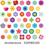 Set Of Flowers Color Flat Icons