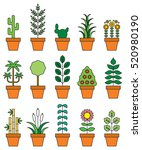 houseplants filled line icons | Shutterstock .eps vector #520980190