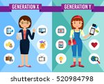 generations comparison... | Shutterstock .eps vector #520984798