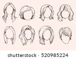 set of woman hairstyles. | Shutterstock .eps vector #520985224