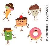 vector set of cartoon colored... | Shutterstock .eps vector #520992034