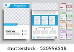 Template flyer A4 with space for a photo. brochure design in 5 color options with ribbons, icons and text. Vector illustrations. Set | Shutterstock vector #520996318